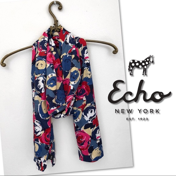 🆕 ECHO OBLONG POPPY FLORAL WRAP SCARF